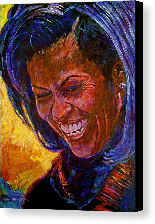 Michele Obama Artwork Canvas Print featuring the painting First Lady Michele Obama by David Lloyd Glover