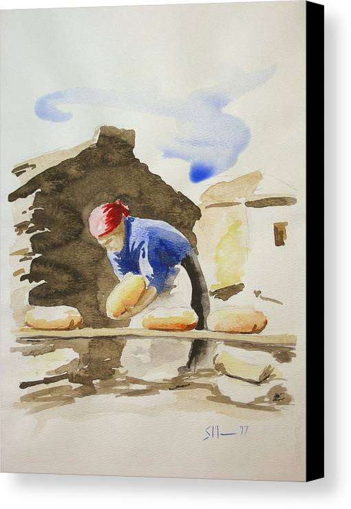 Bread Canvas Print featuring the painting Fresh Bread by Scott Manning