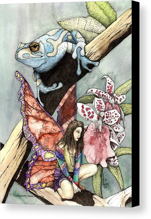 Fairy Faery Dragons Demon Fantasy Art Amy Brown Wizards Magic Pagen Canvas Print featuring the mixed media Frog Flowers And A Fairy by Preston Shupp