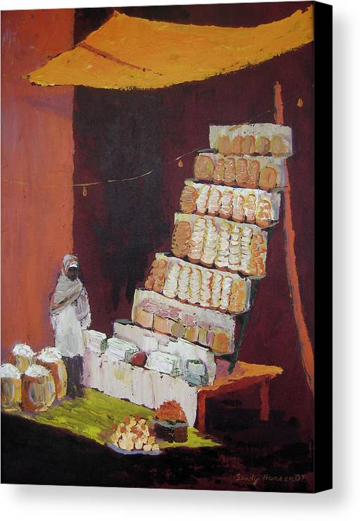 Cityscape Canvas Print featuring the painting Gajak Sweet Shop by Art Nomad Sandra Hansen