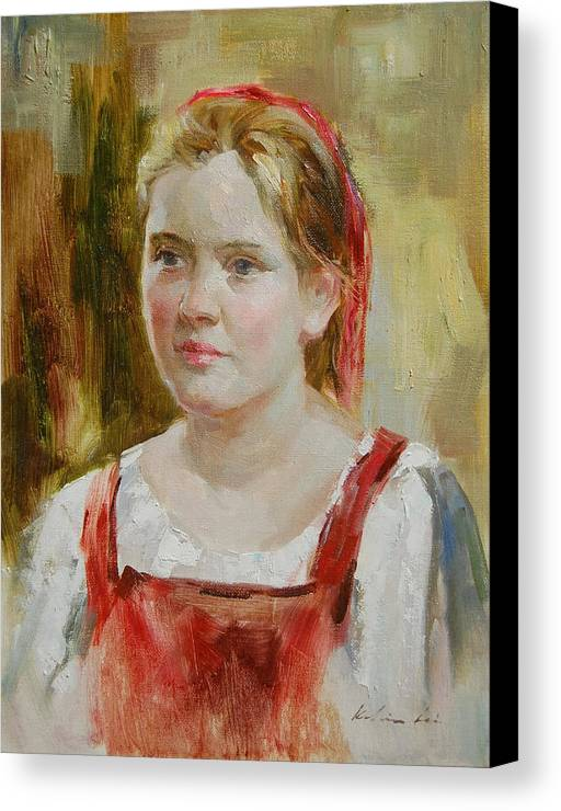 Portrait Canvas Print featuring the painting Girl In Red by Kelvin Lei