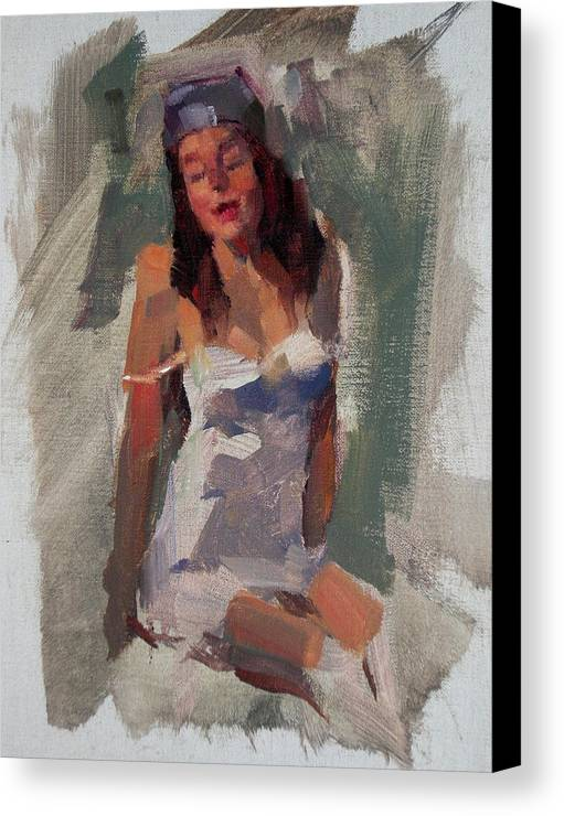 Figurative Canvas Print featuring the painting Glam Girl by Merle Keller