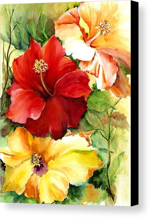 Flower Canvas Print featuring the painting Glorious Hibiscus by Priscilla Powers