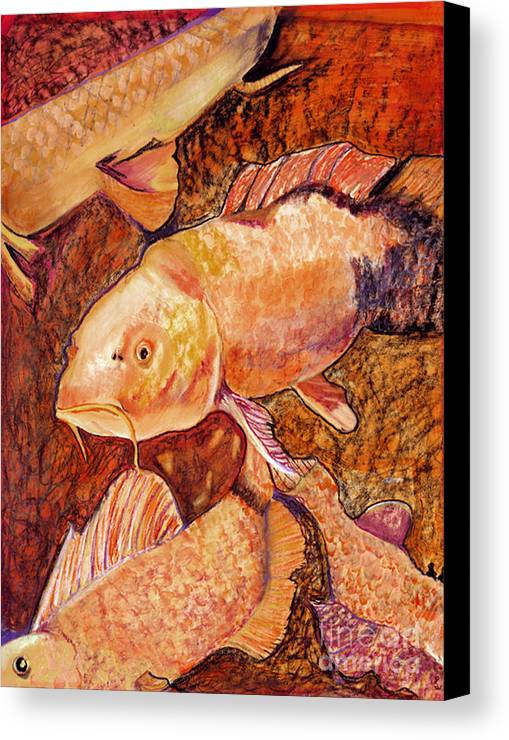Fish Canvas Print featuring the painting Golden Koi by Pat Saunders-White