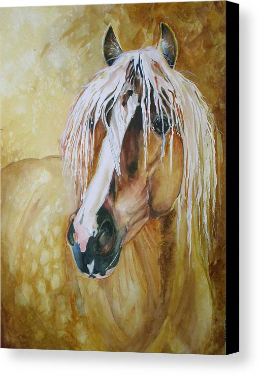Equine Canvas Print featuring the painting Golden Lance by Gina Hall