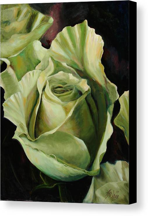 Roses Canvas Print featuring the painting Grand -opening by Billie Colson