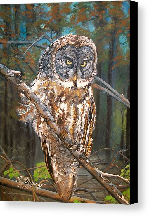 Tags Canvas Print featuring the painting Great Grey Owl 2 by Sharon Duguay