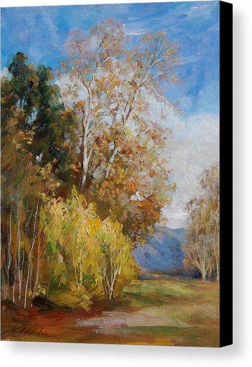 Landscape Canvas Print featuring the painting Green Winter by Kelvin Lei
