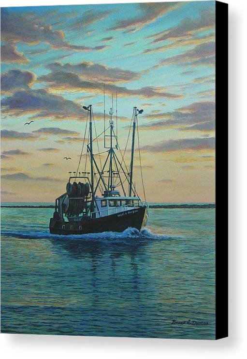 Marine Art Canvas Print featuring the painting Heading In by Bruce Dumas