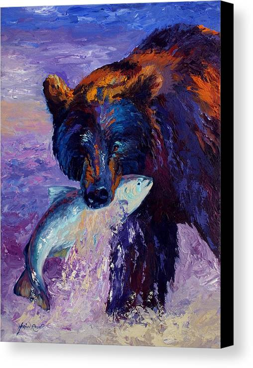 Bear Canvas Print featuring the painting Heartbeats Of The Wild by Marion Rose