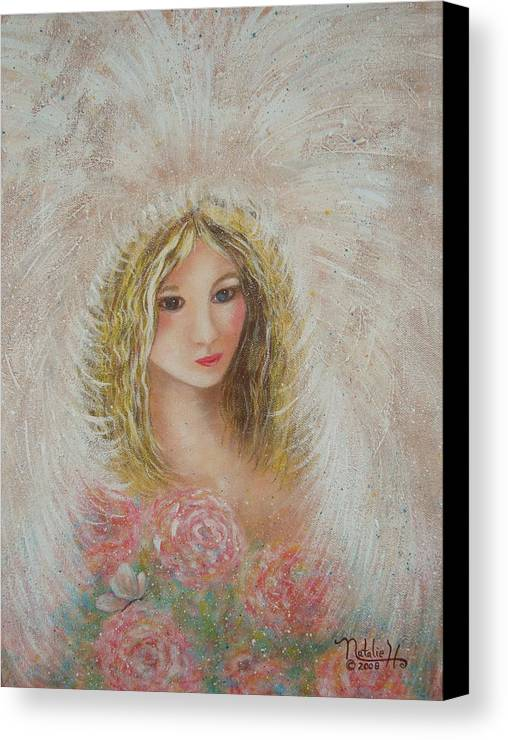 Angel Canvas Print featuring the painting Heavenly Angel by Natalie Holland