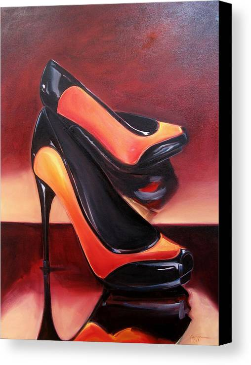 Shoes Canvas Print featuring the painting Highered Heels by Yvonne Dagger