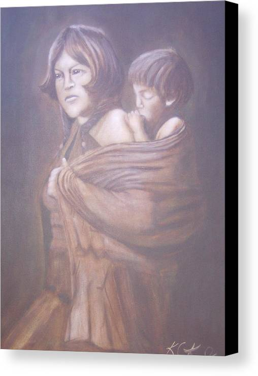 Indians Canvas Print featuring the painting Hopi Mother by KC Knight