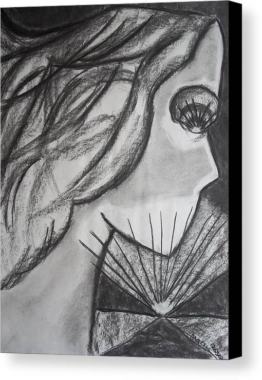 Face Canvas Print featuring the drawing Horizon by Marsha Ferguson
