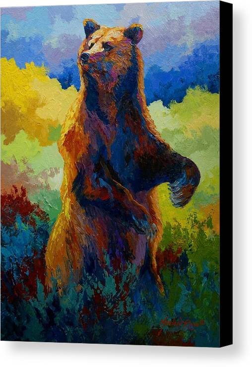 Bear Canvas Print featuring the painting I Spy - Grizzly Bear by Marion Rose