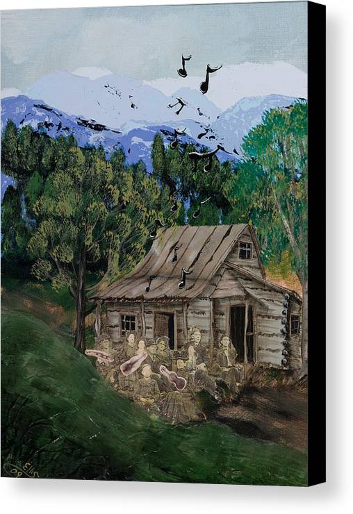 Landscape Canvas Print featuring the painting If We Were Musicians by Julia Ellis