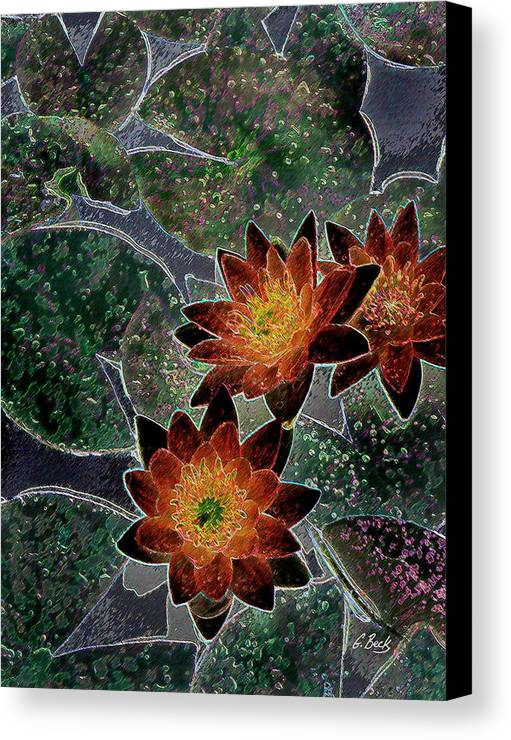 Botanical Lilies Lilly Pads Flowers Impressionistic Gordon Beck Art Canvas Print featuring the photograph Impressionistic Lilies by Gordon Beck