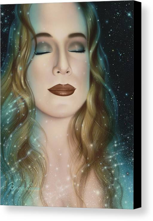 Portrait Canvas Print featuring the painting Inner Beauty Of Outer Space by Brigit Byron Coons