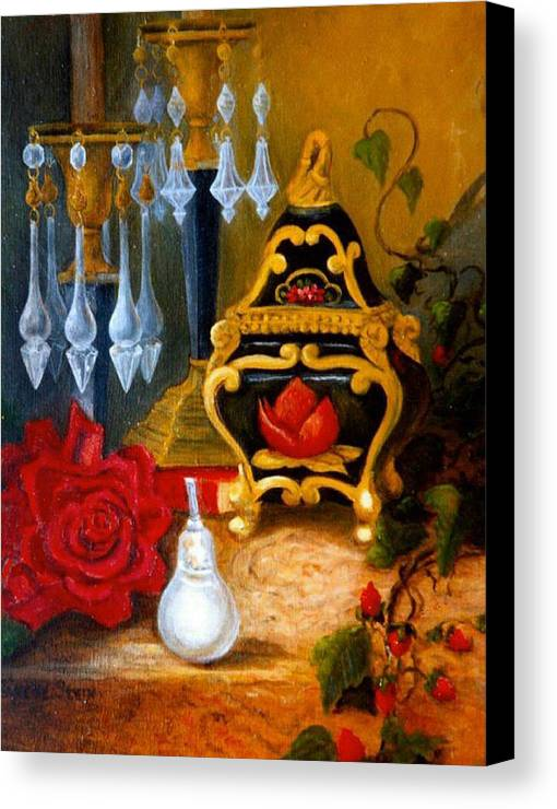 Candlesticks Canvas Print featuring the digital art Italian Cache And Crystal by Jeanene Stein