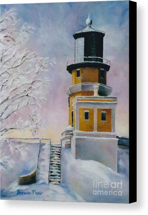Lighthouse Canvas Print featuring the painting Januarys Light by Brenda Thour