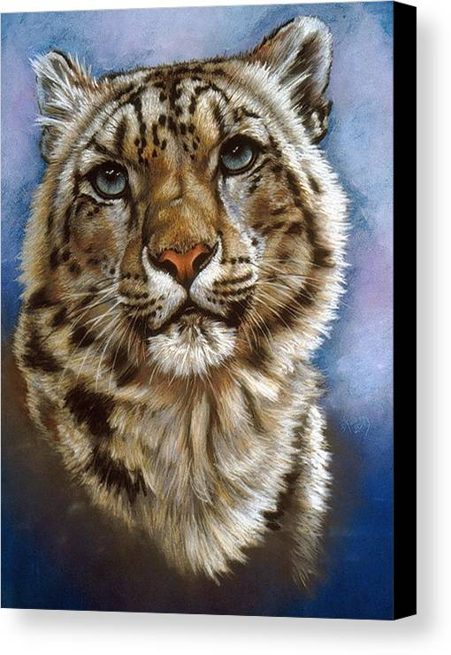 Snow Leopard Canvas Print featuring the pastel Jewel by Barbara Keith