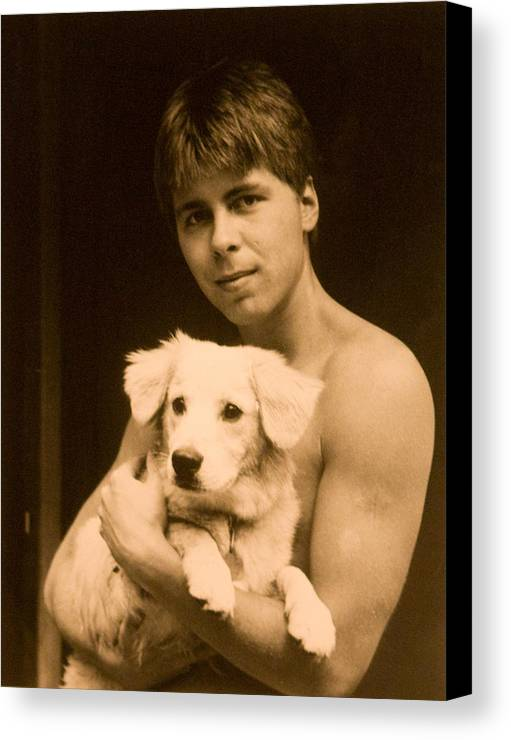 Portrait Canvas Print featuring the photograph Johnny With Dog by John Toxey