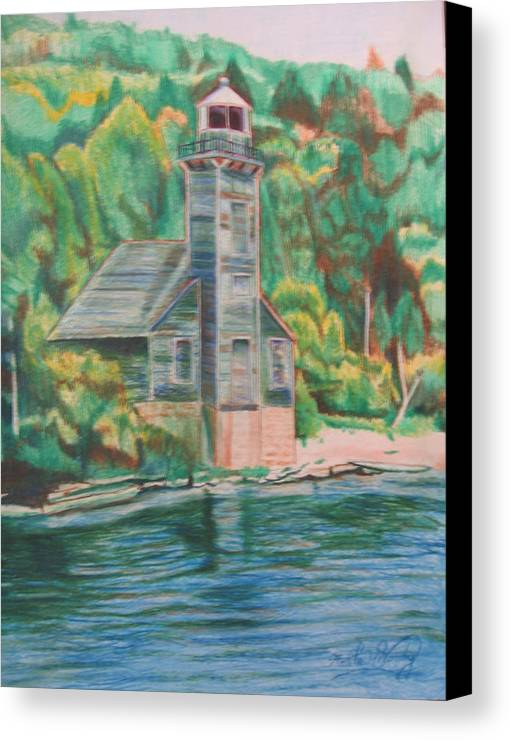 Woods Canvas Print featuring the drawing Lake Michigan Old Lighthouse by Matthew Handy
