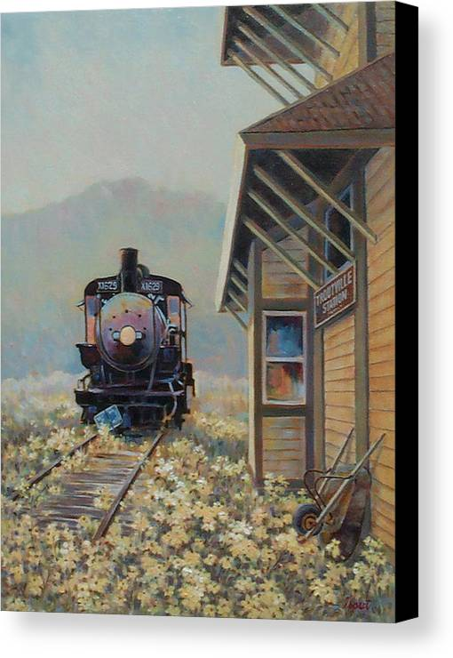Locomotive Canvas Print featuring the painting Last Stop Troutville by Don Trout