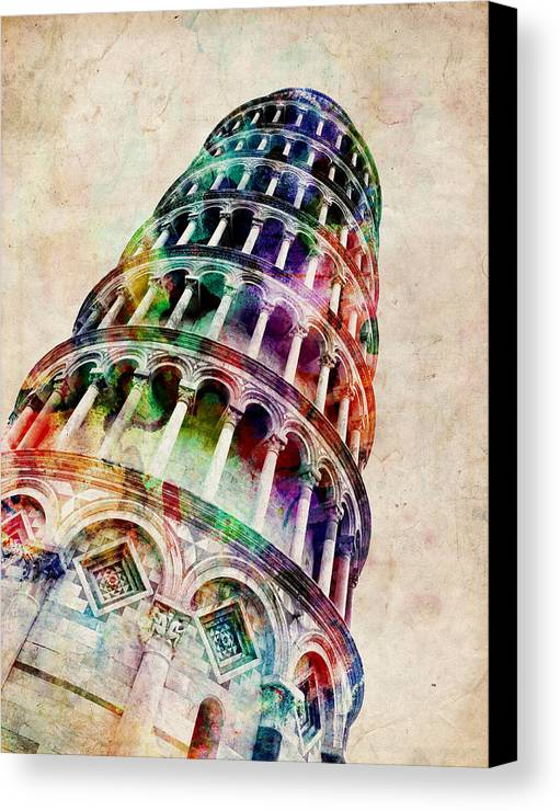 Leaning Tower Of Pisa Canvas Print featuring the digital art Leaning Tower Of Pisa by Michael Tompsett