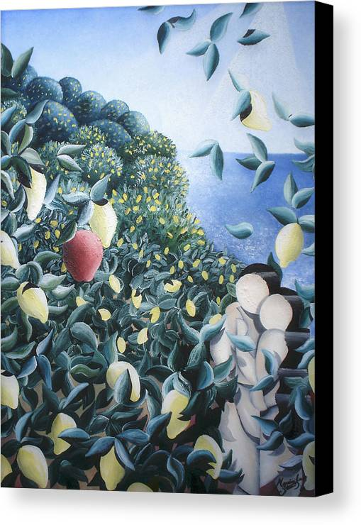 Landscape Canvas Print featuring the painting Lemon Trees by Massimiliano Stanco