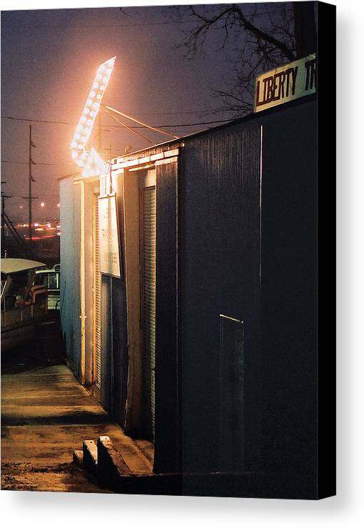 Night Scene Canvas Print featuring the photograph Liberty by Steve Karol