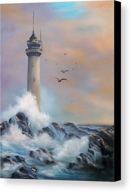 Lighthouse Canvas Print featuring the painting Lighthouse by Joni McPherson