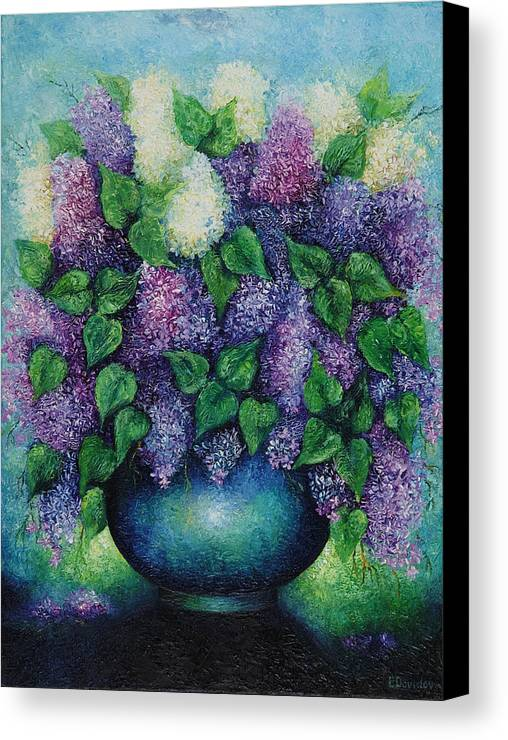 Flowers Canvas Print featuring the painting Lilacs No 1. by Evgenia Davidov