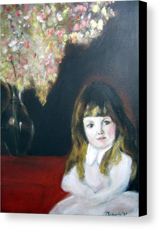 Child Canvas Print featuring the painting Little Queen by Michela Akers