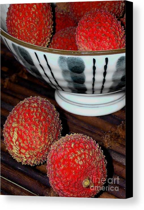 Lychee Canvas Print featuring the photograph Lychee by James Temple