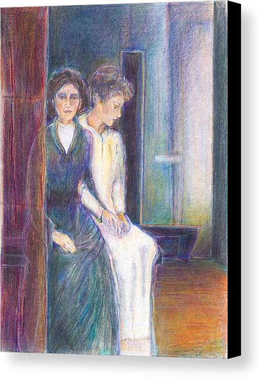 Illustration; Bible Story; Contemplation; Spiritual; Ladies; Symbolic Drawing; Jewish Art; Canvas Print featuring the painting Martha And Mary by Laurie Parker