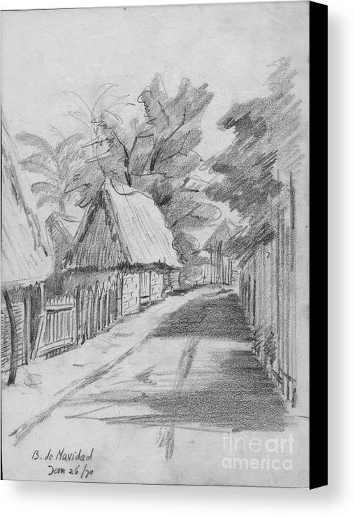 Anthony Van Dyk Canvas Print featuring the drawing Mexico Streetscape by Anthony Vandyk