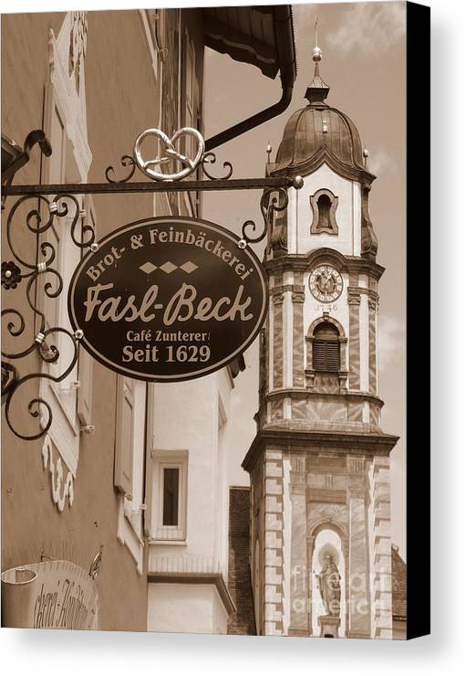 Mittenwald Canvas Print featuring the photograph Mittenwald Cafe Sign In Sepia by Carol Groenen