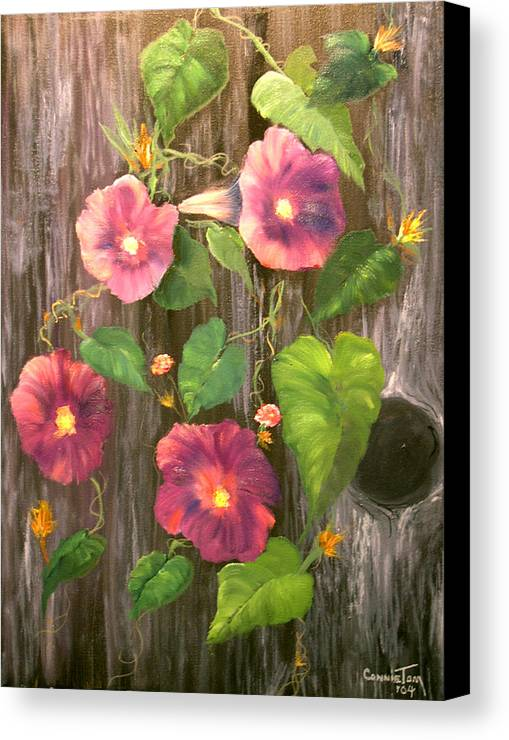 Connie Tom Canvas Print featuring the painting Morning Glories by Connie Tom