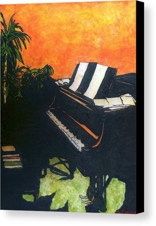 Piano Canvas Print featuring the painting Morning Glory by Shane Hurd