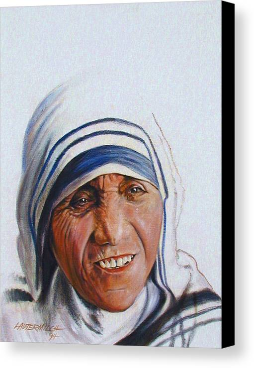 Mother Teresa Canvas Print featuring the painting Mother Teresa by John Lautermilch