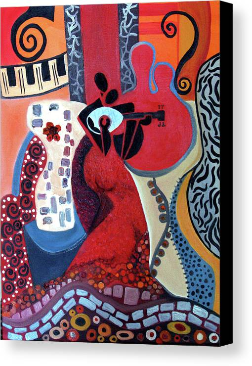 Musical Instruments Figurative Cubist Abstract Canvas Print featuring the painting Music Is Love by Niki Sands