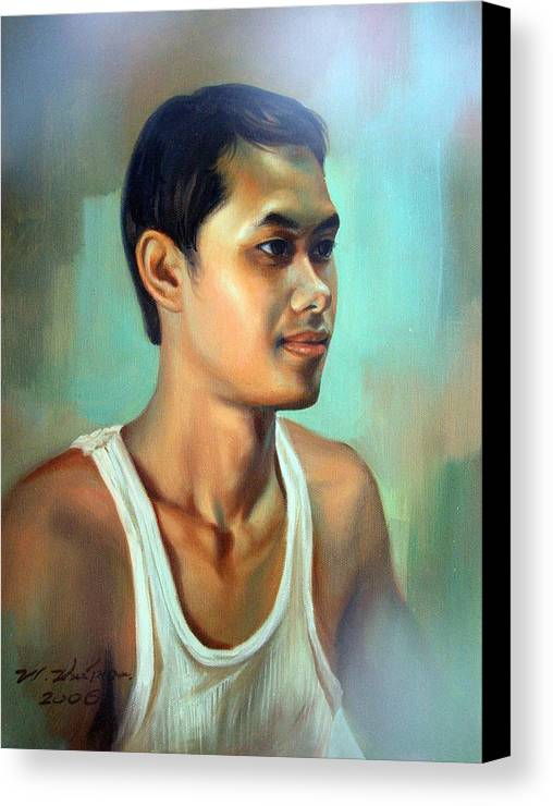 Thai Canvas Print featuring the painting My Brother by Chonkhet Phanwichien