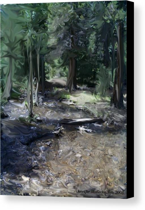 Landscape Canvas Print featuring the digital art Mysterious Woods by Jennifer Skalecke