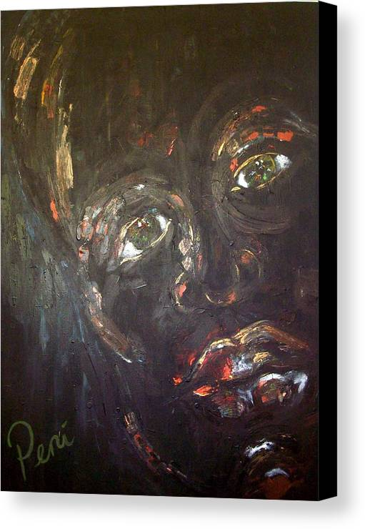 Portraits Canvas Print featuring the painting Night by Penny Faulhammer