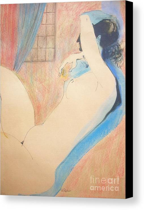 Nude Figures Canvas Print featuring the painting Nude 22 by Alex Rahav
