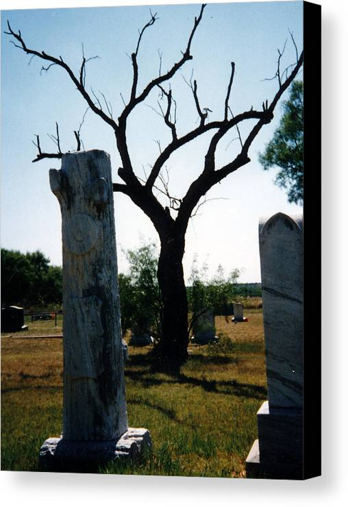 Stones Trees Old Headstones Canvas Print featuring the photograph Old Stones In Old Cementery by Cindy New