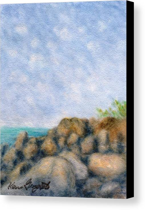 Rainbow Colors Pastel Canvas Print featuring the painting On The Rocks by Kenneth Grzesik