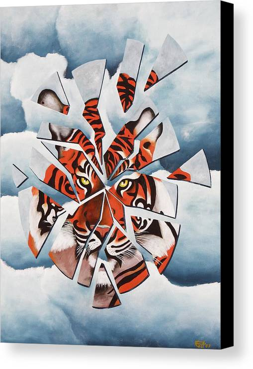 Tiger Canvas Print featuring the painting Once I Was A Tiger by Poul Costinsky