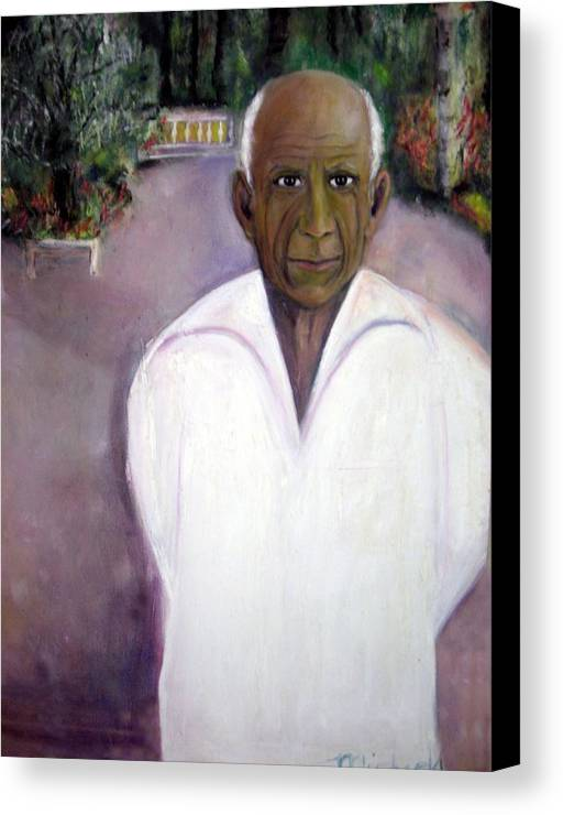 Famous Artist Canvas Print featuring the painting Pablo Picasso At Villa Mariposa by Michela Akers